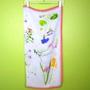 💚VTG 80s Silk Scarf Floral Spring Square 30x30